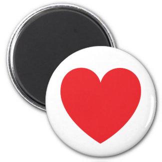 Amor o día de San Valentín rojo del corazón Imán Redondo 5 Cm