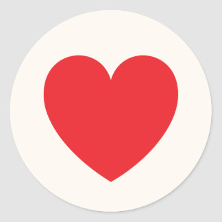 Amor o día de San Valentín rojo del corazón Pegatina Redonda