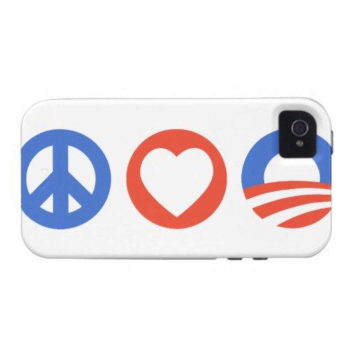 Amor Obama de la paz Case-Mate iPhone 4 Fundas