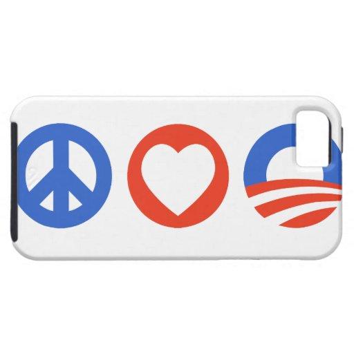 Amor Obama de la paz iPhone 5 Fundas