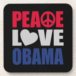 Amor Obama de la paz Posavasos De Bebidas