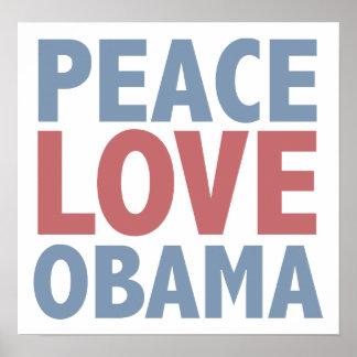Amor Obama de la paz Póster