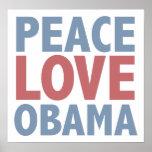 Amor Obama de la paz Posters