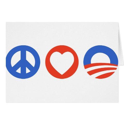 Amor Obama de la paz Tarjeta