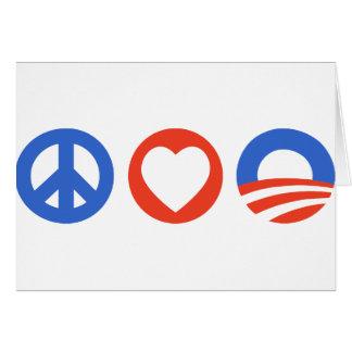 Amor Obama de la paz Tarjeta De Felicitación