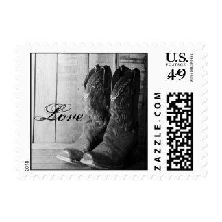 Amor occidental rústico del boda de las botas de sello postal