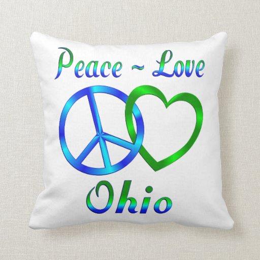 Amor Ohio de la paz Cojines