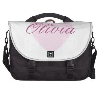 Amor Olivia - corazón rosado del amor Bolsas De Portátil