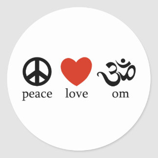 Amor OM de la paz Pegatina Redonda