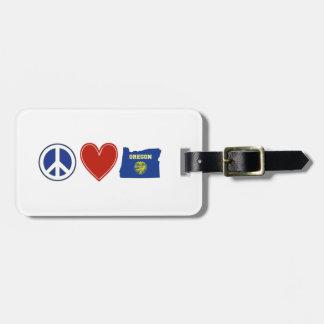 Amor Oregon de la paz Etiqueta De Equipaje