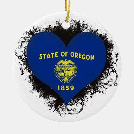 Amor Oregon del vintage I Adorno Navideño Redondo De Cerámica