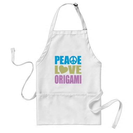 Amor Origami de la paz Delantal