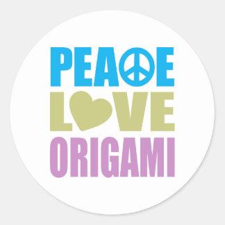 Amor Origami de la paz Pegatina Redonda