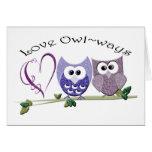 Amor Owl~ways, regalos lindos del arte de los búho Tarjeton