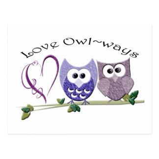 Amor Owl~ways, regalos lindos del arte de los Postal