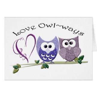 Amor Owl~ways, regalos lindos del arte de los Tarjeta De Felicitación