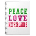 Amor Países Bajos de la paz Libros De Apuntes Con Espiral