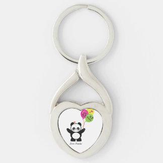 Amor Panda® Llavero Plateado En Forma De Corazón