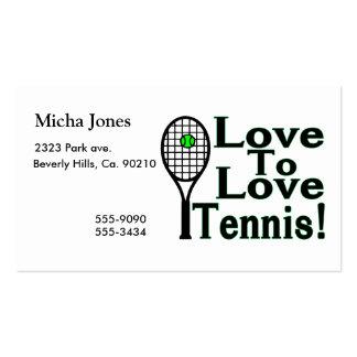 Amor para amar tenis plantillas de tarjetas de visita