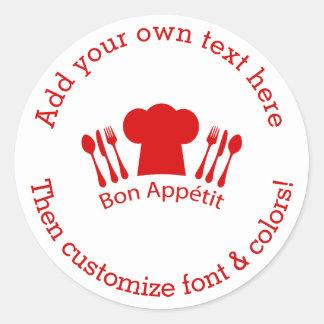 Amor para cocinar el Bon Appetit del gorra del Pegatina Redonda