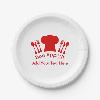 Amor para cocinar el Bon Appetit del gorra del Plato De Papel De 7 Pulgadas