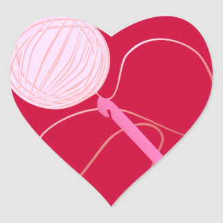 Amor para crochet a los pegatinas del corazón pegatina en forma de corazón