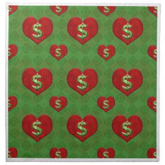 Amor para el modelo del dinero servilletas imprimidas