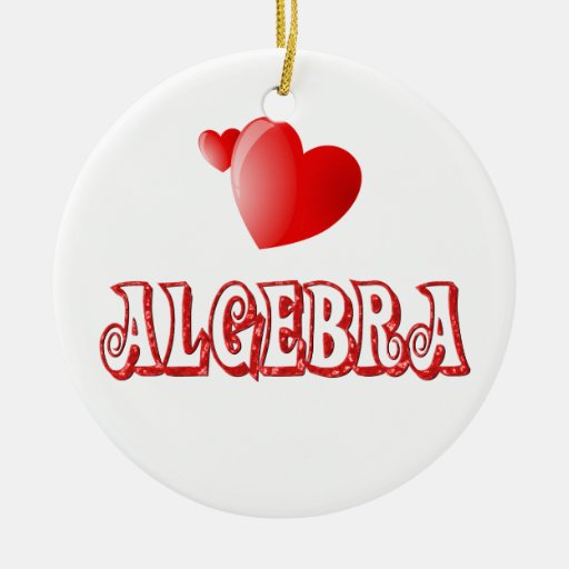 Amor para la álgebra adorno navideño redondo de cerámica