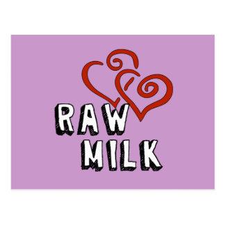 Amor para la leche cruda postales