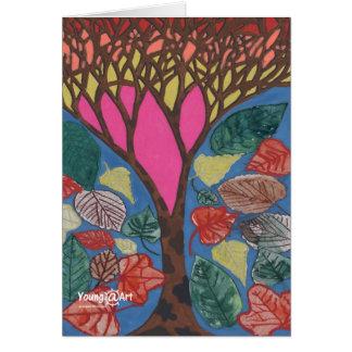 Amor para la tarjeta de felicitación de los árbole