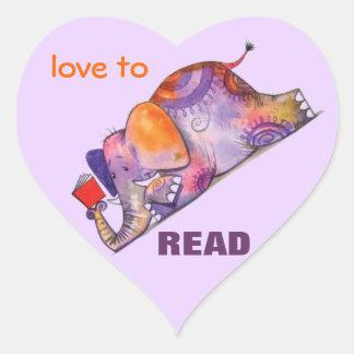 Amor para leer a los pegatinas pegatina en forma de corazón