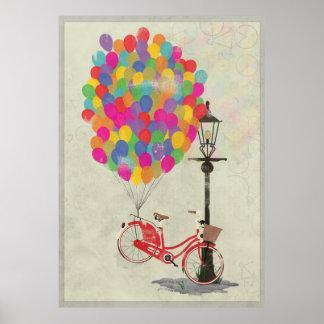 ¡Amor para montar mi bici con los globos! Póster