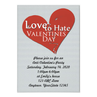 Amor para odiar la invitación del fiesta del día