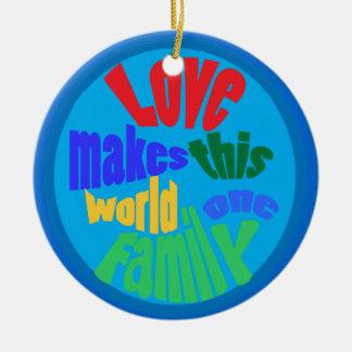 Amor para todas las naciones adorno navideño redondo de cerámica