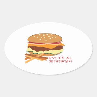 Amor para todos los cheeseburgers calcomania ovaladas personalizadas