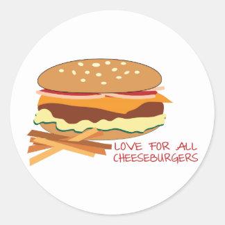 Amor para todos los cheeseburgers pegatina redonda