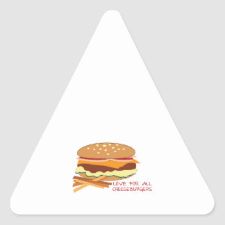 Amor para todos los cheeseburgers calcomania de trianguladas