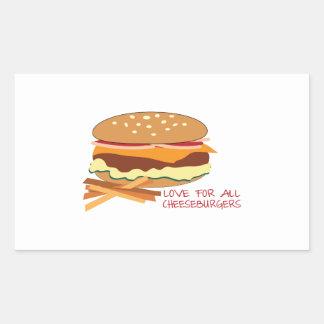 Amor para todos los cheeseburgers rectangular pegatina