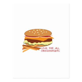 Amor para todos los cheeseburgers tarjeta postal