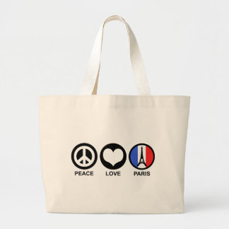Amor París de la paz Bolsa Tela Grande