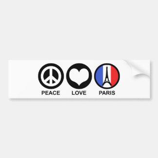 Amor París de la paz Etiqueta De Parachoque