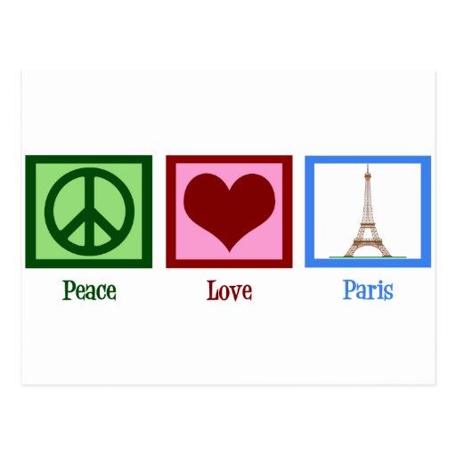 Amor París de la paz Tarjeta Postal