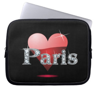"Amor París ""diamante Bling "" Funda Computadora"