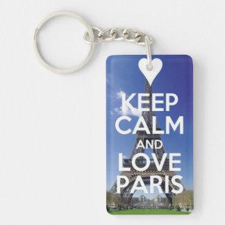 Amor París Llavero Rectangular Acrílico A Una Cara