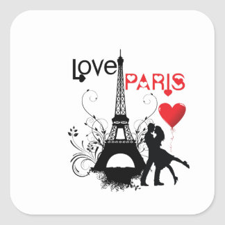 Amor París Pegatina Cuadrada