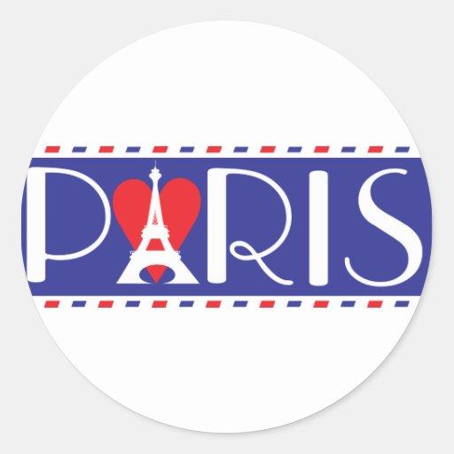 Amor París Pegatina Redonda