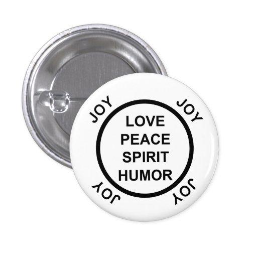 Amor, paz, alcohol, humor, alegría - botón de Pinb Pin Redondo De 1 Pulgada