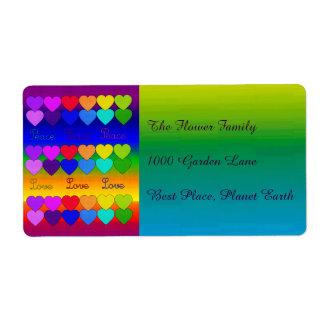 Amor, paz, arco iris etiqueta de envío