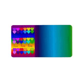 Amor, paz, arco iris etiqueta de dirección