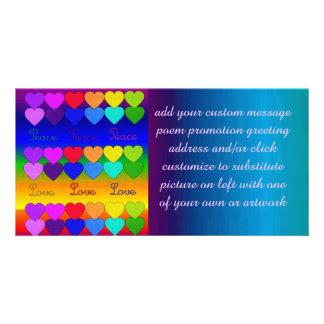 Amor, paz, arco iris plantilla para tarjeta de foto